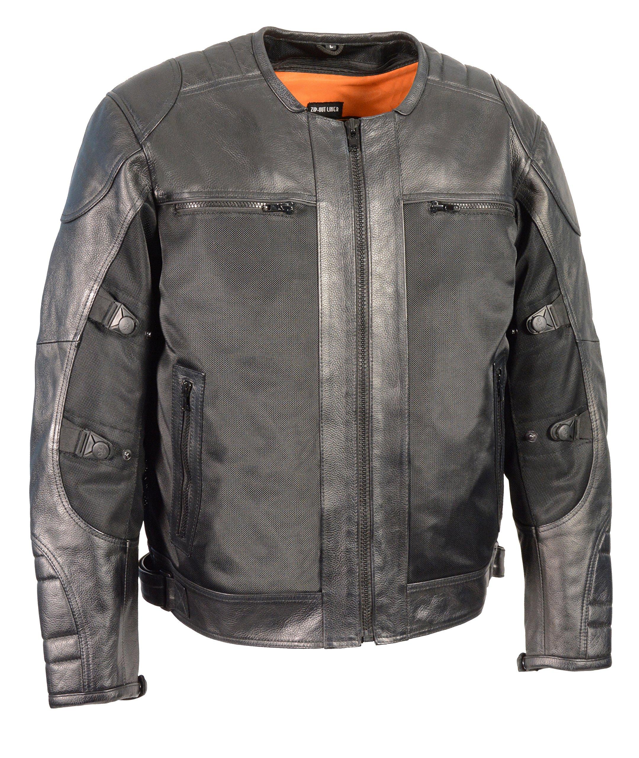 Milwaukee Performance Men's Mesh/Leather Combo Scooter Sports Jacket (Black, 4X-Large)