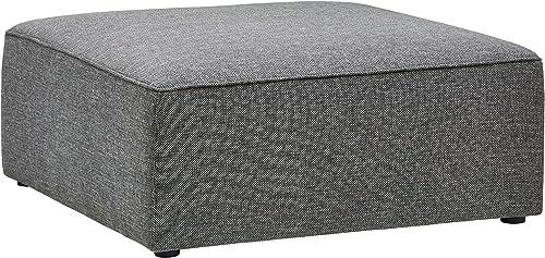 Amazon Brand Rivet Audrey Modern Ottoman, 39 W, Grey Storm