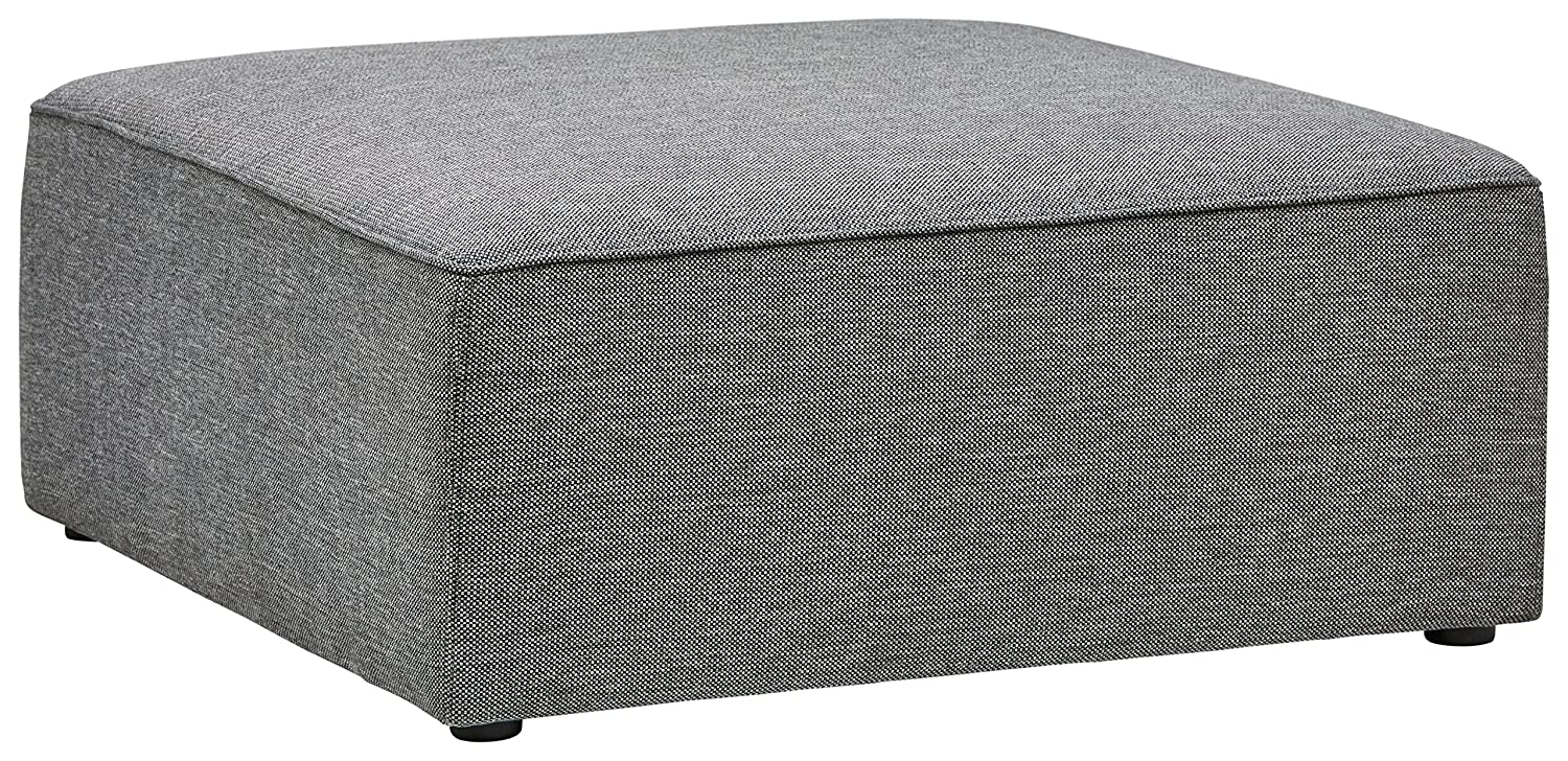 "Rivet Audrey Modern Ottoman, 39"" W, Grey Storm by Rivet"