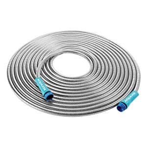"Aqua Joe AJSGH50 1/2"" Heavy-Duty Spiral Constructed Stainless Steel Garden Hose, 50 Foot"
