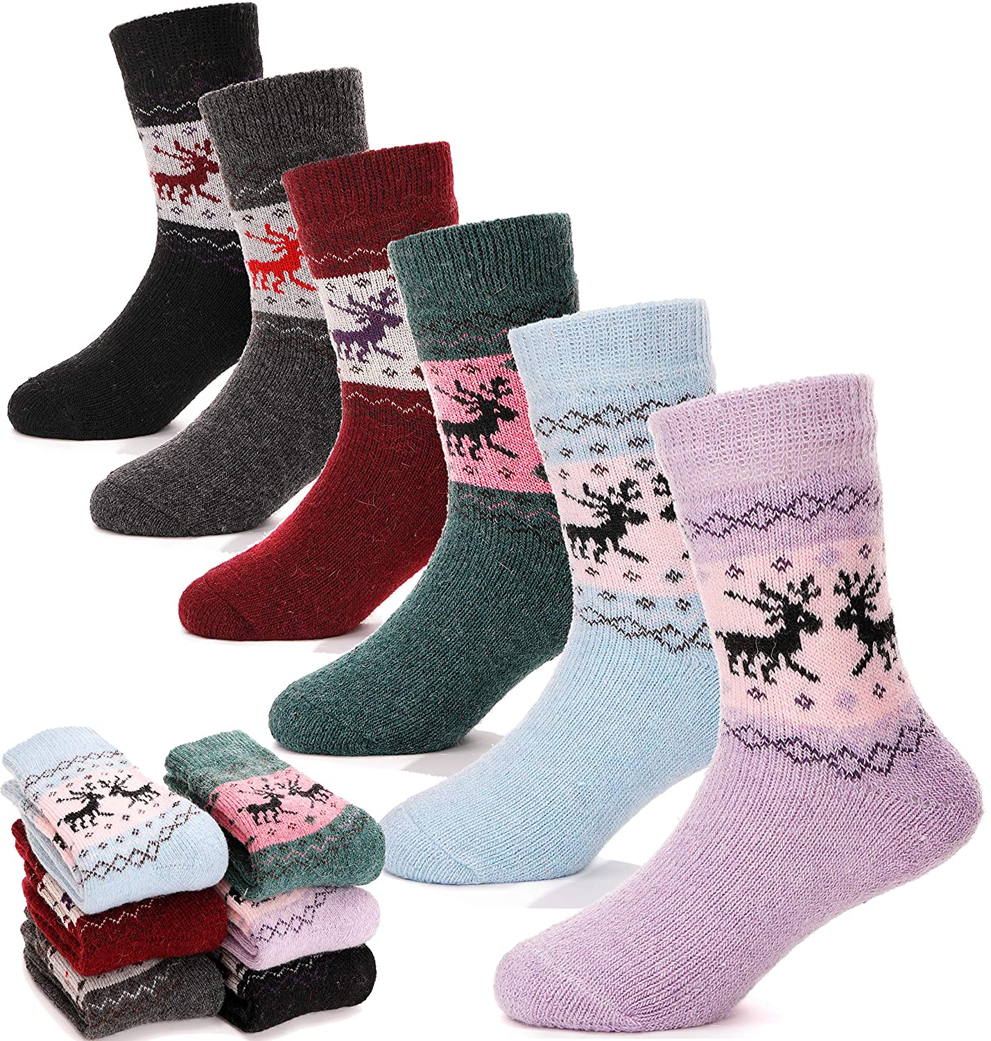 Children Wool Socks For Boy Girl Kids Toddler Thick Thermal Warm Cotton Winter Crew Socks