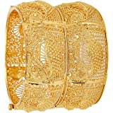 Mansiyaorange Traditional One Gram Gold Style Screw Openable Two Broad Hand Made Wax Forming Two Golden Bangles for Women