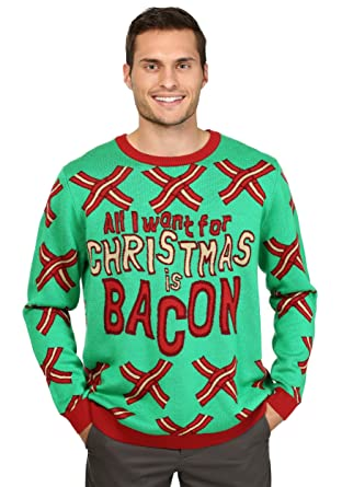 funcominc all i want for christmas is bacon mens knit ugly christmas sweater s