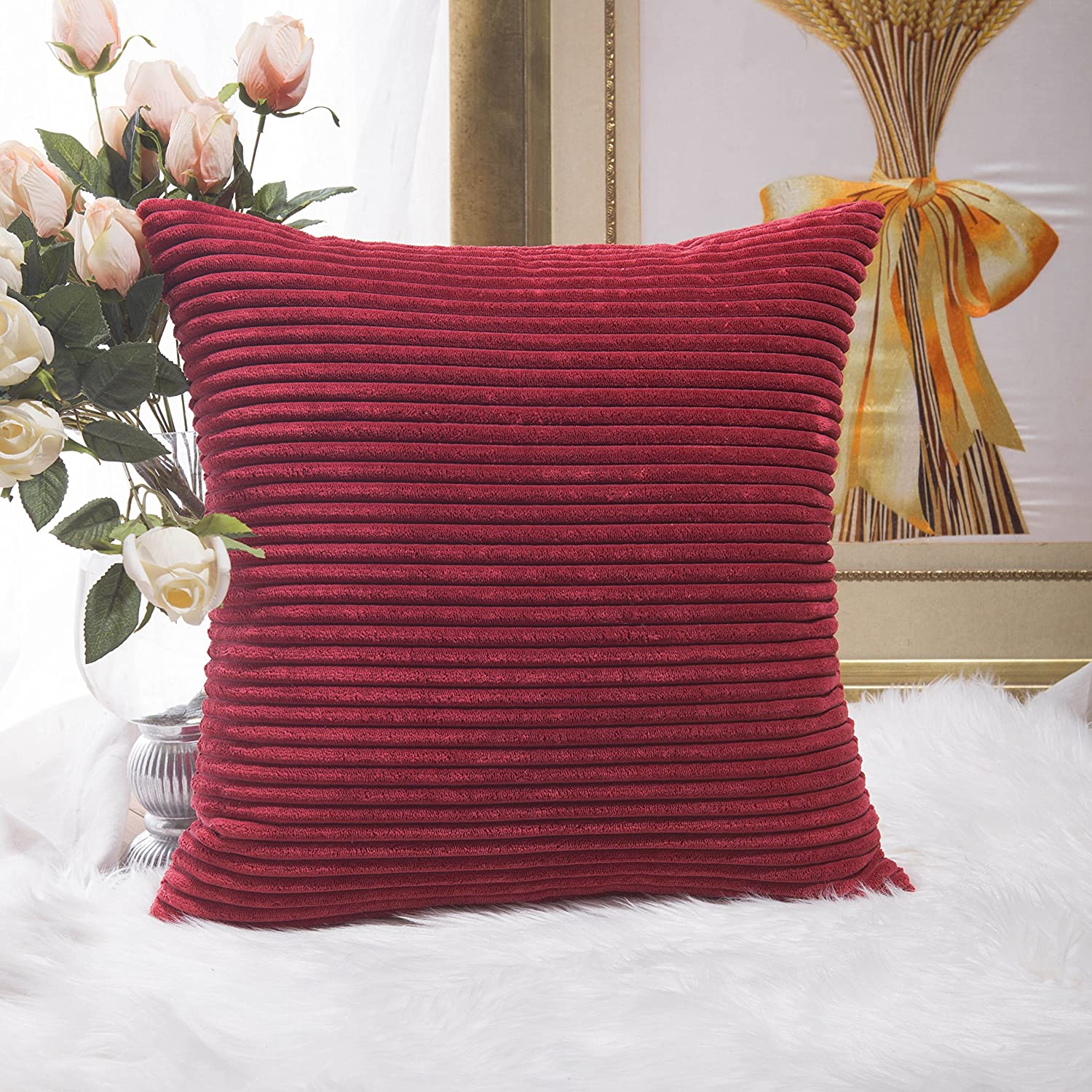 Home Brilliant Super Soft Plush Corduroy Striped Christmas Throw Pillow Cushion Covers For Sofa Couch Bed 18 X 45x45 Dark Red Amazoncouk