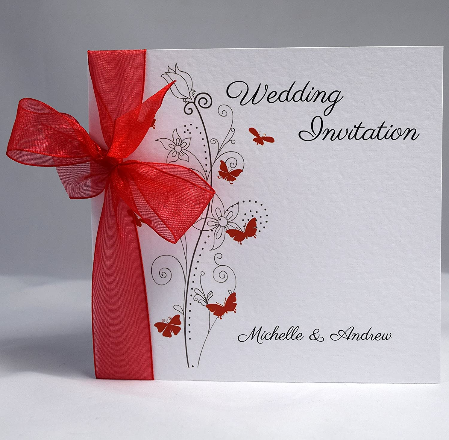 Butterfly Wedding Invitations Personalised with Ribbon (Available in ...
