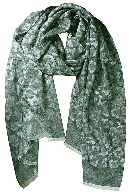 d18d0ba27ac FERETI Foulard en soie Echarpe leopard Vert clair grande pour femmes  monochrome  Amazon.fr  Bagages