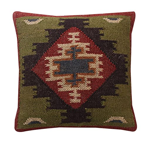 Indian juego de yute 2) Euro Sham manta decorativa, tejido a ...