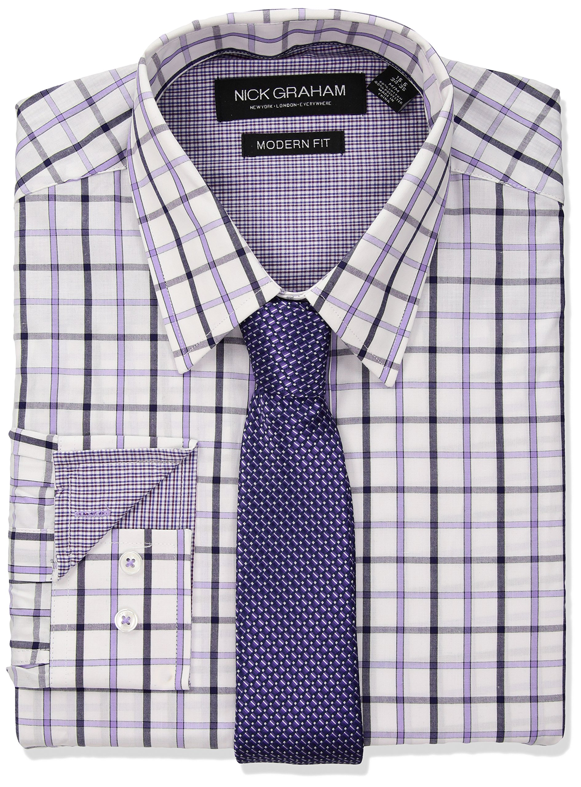 Nick Graham Men's Windowpane Dress Shirt with Tie Set, Purple, 17''-17.5'' Neck 34''-35'' Sleeve