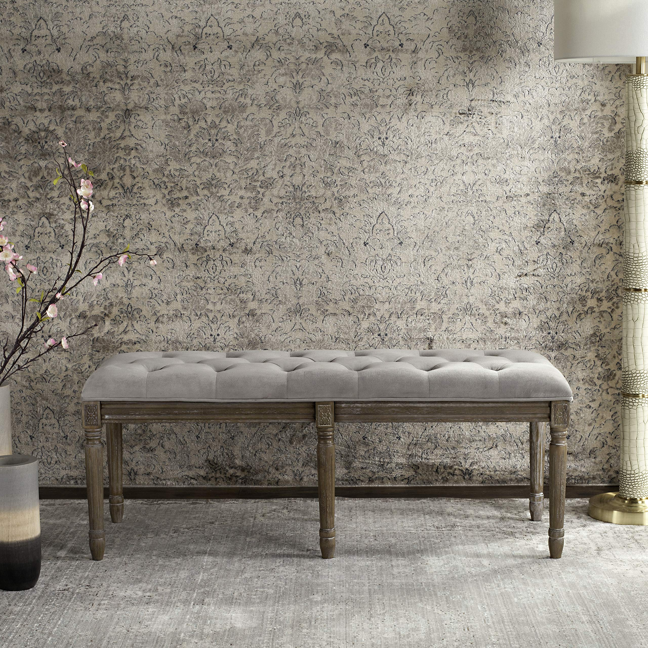 Safavieh Home Collection Rocha French Brasserie Tufted Grey and Rustic Oak 19-inch Wood Bench by Safavieh (Image #3)