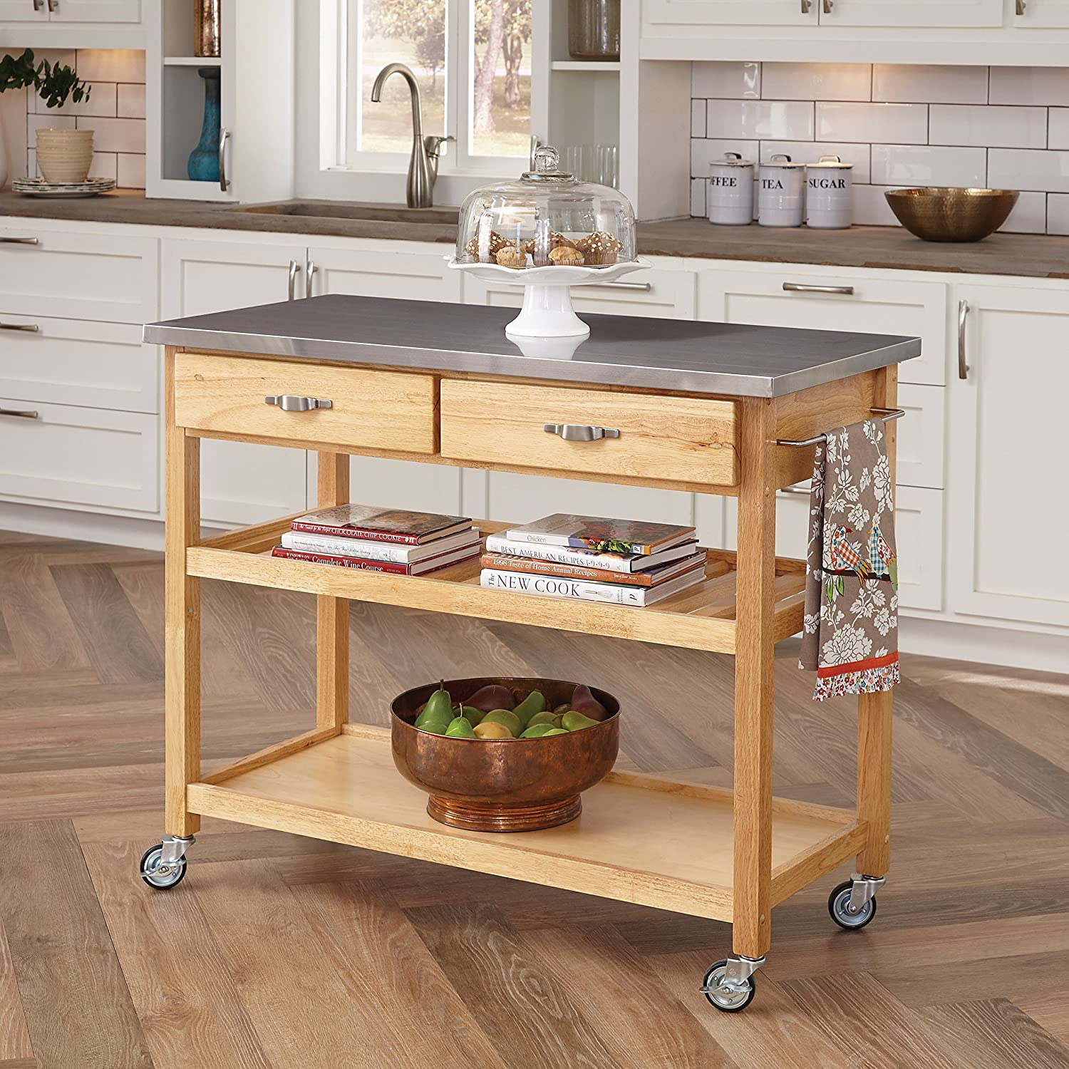 Amazoncom Home Styles Natural Designer Utility Cart With Stainless - Stainless steel table top shelves