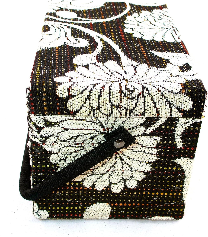 Dritz Tapestry Sewing Basket,Black//White