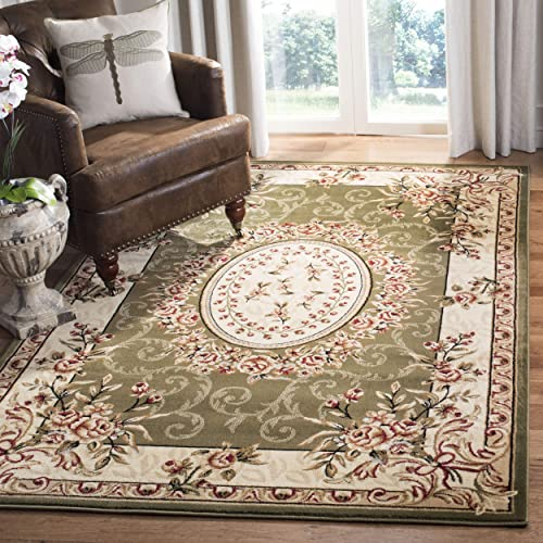 Safavieh Lyndhurst Collection LNH328B Traditional European Medallion Sage and Ivory Rectangle Area Rug 8 11 x 12
