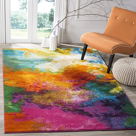 Amazon.com: Safavieh Water Color Collection WTC619D Orange and