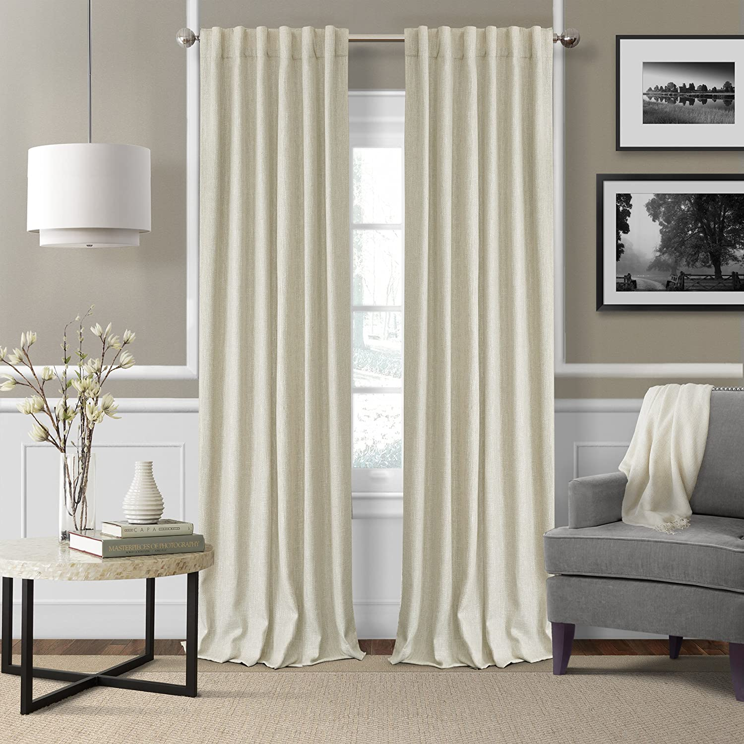 Amazon Com Elrene Home Fashions 26865900941 3 In 1 Blackout Energy Efficient Lined Linen Rod Pocket Window Curtain Drape Panel 52 X 84 Ivory 1 Home Kitchen
