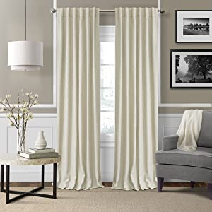 "Elrene Home Fashions 26865900941 3-in-1 Blackout Energy Efficient Lined Linen Rod Pocket Window Curtain Drape Panel, 52"" x 84"", Ivory, 1"