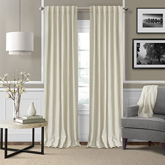 Elrene Home Fashions 26865900941 3 In 1 Blackout Energy Efficient Lined Linen Rod Pocket Window Curtain Drape Panel 52 X 84 Ivory 1 Home Kitchen Amazon Com