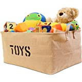 "Jute ""TOYS"" 22""Long x 15""Wide ( 3 SIZES) Storage Bin - Storage Baskets for organizing Baby Toys, Kids Toys, Baby Clothing, Children Books, Gift Baskets (Xlarge)"