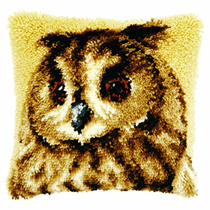 Vervaco Latch Hook Cushion Kit Brown Owl