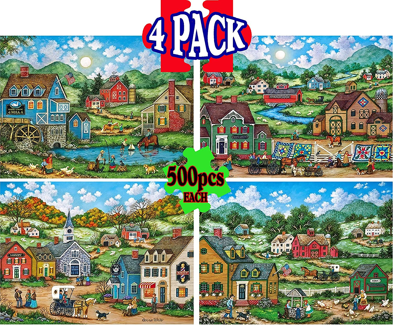 4 Pack Master Pieces 500 Piece Puzzles Simple Living by Bonnie White Gift Set Bundle