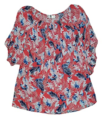 8e26f3dab51 Terra   Sky Women s Plus Size Floral Print Coral Fire Flutter Sleeve Rayon  Woven Peasant Top