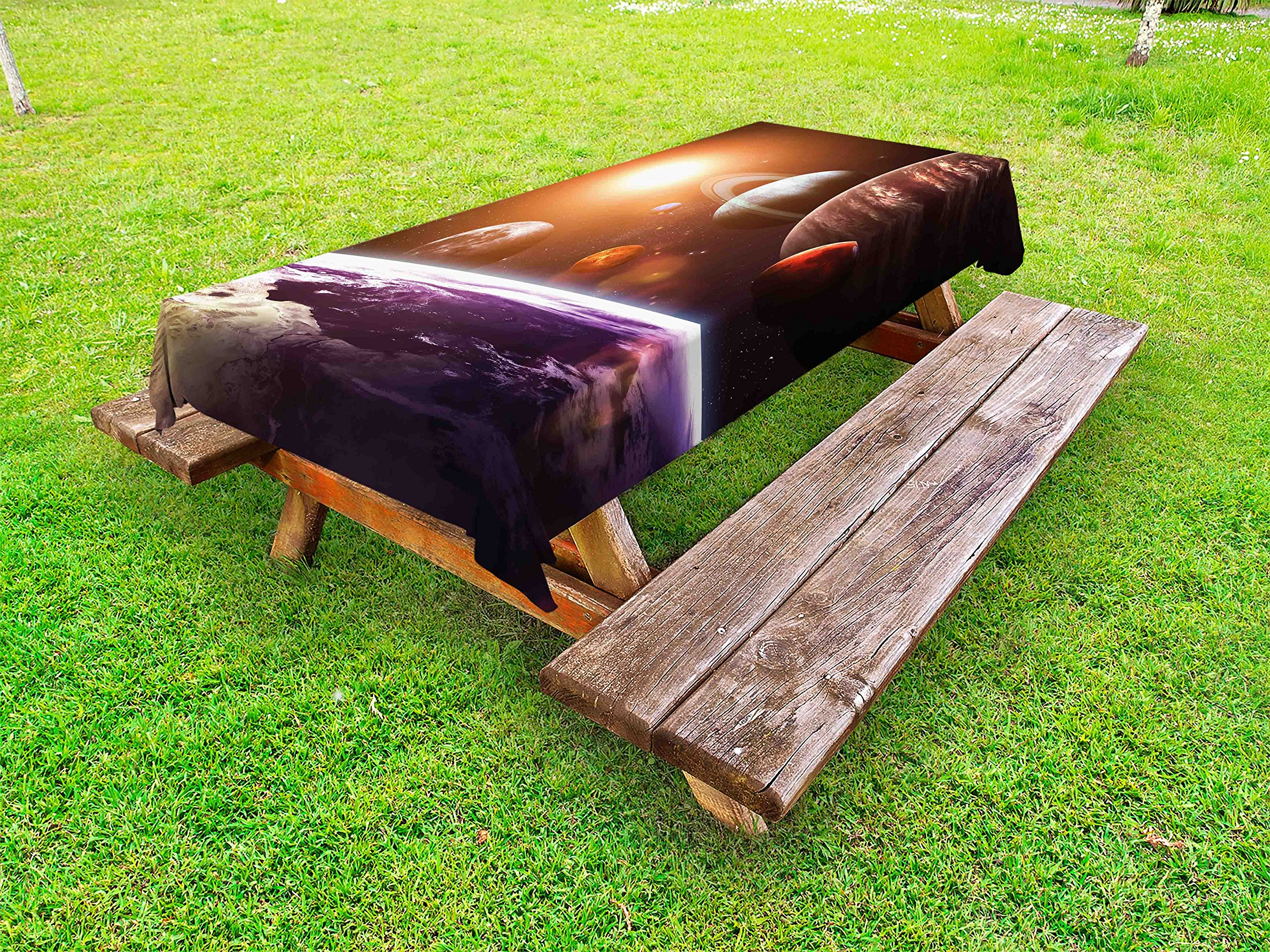 Lunarable Modern Outdoor Tablecloth, Solar System with Planets Outer Space Objects Sun Dark Matter Background Print, Decorative Washable Picnic Table Cloth, 58 X 84 inches, Orange Purple
