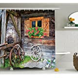 Ambesonne Shutters Decor Shower Curtain by, Weathered Old Window with Flowers in Pot Wheels Farmhouse Rural Scene Front View, Polyester Fabric Bathroom Shower Curtain Set with Hooks, Brown Green Red