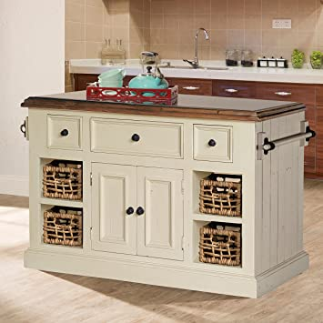 Large Granite Top Kitchen Island In Country White Finish
