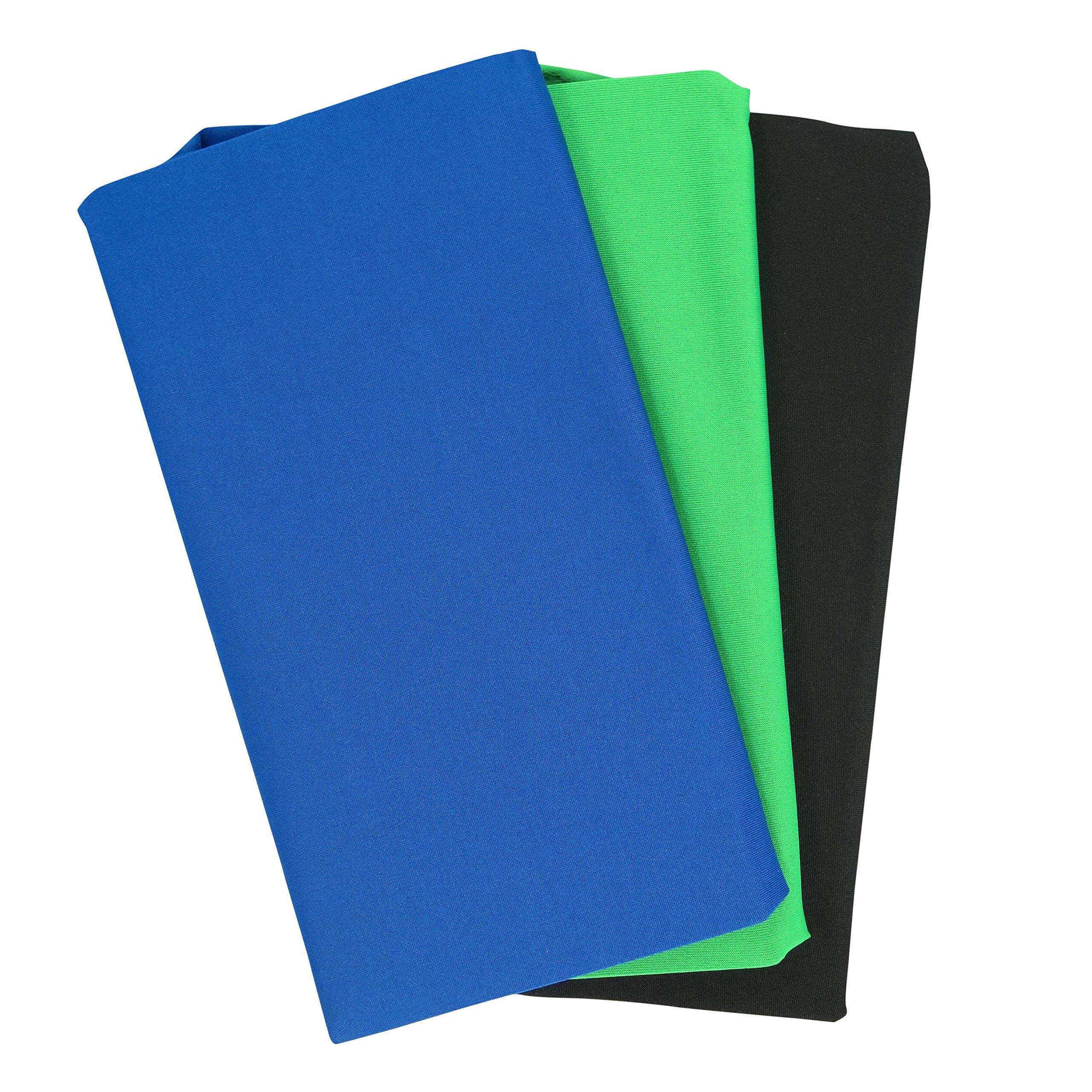 Black, Blue & Green Jumbo Fabric Book Covers 3 Pack