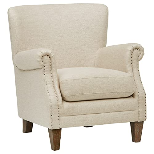 Stone Beam Jacobsen Traditional Accent Chair, 31 W, Fresh Ivory Linen