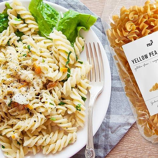 nu3 Low carb pasta de guisante amarillo | 250g de fideos fusilli | Pasta sin gluten y sin harina | Fideos veganos ricos en proteína y fibra dietética ...