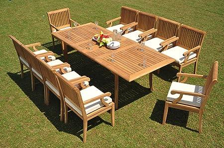 Amazon.com: 10 Seat 11 Piece Grade-A Teak Wood Dining Set ...