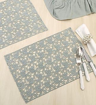 Platzset Deckchen Set Tischset Weiß+Beige Tischdecke Shabby Vintage Landhaus