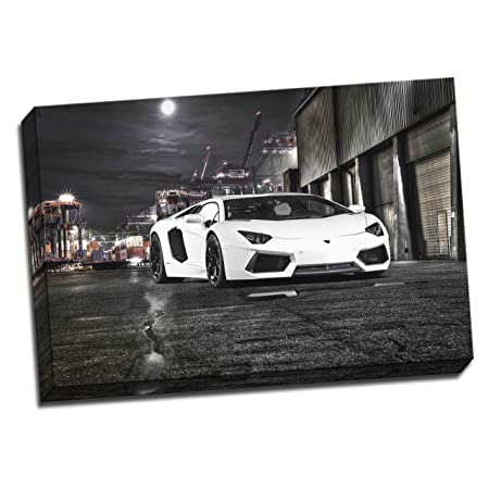Large Lamborghini Aventador Framed Canvas Picture Wall Art Print 20x30  Inches A1