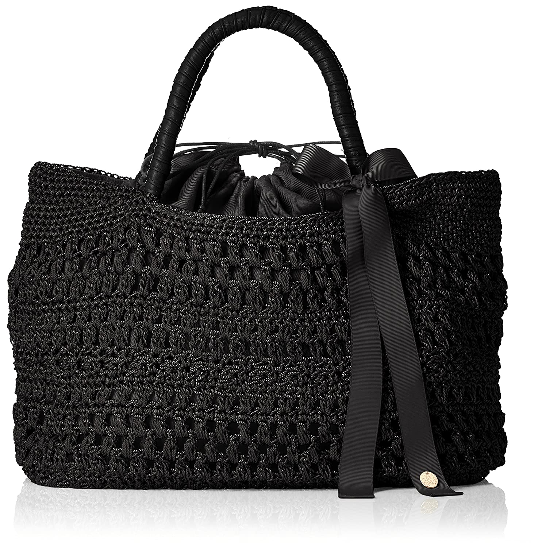 [カシュカシュ] リボン付き柄編みトートバッグ  01-00-57170 B078G7J958 ブラック ブラック