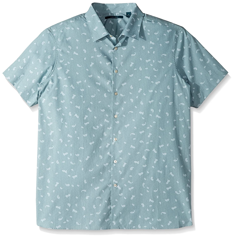 Perry Ellis Mens Short Sleeve Multicolor Paisley/Print Shirt