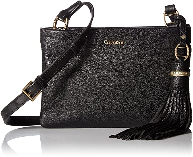 Amazon.com: calvin klein Holly Pebble piel Crossbody, negro ...