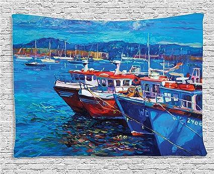 amazon com ambesonne blue tapestry nautical decor image of sail