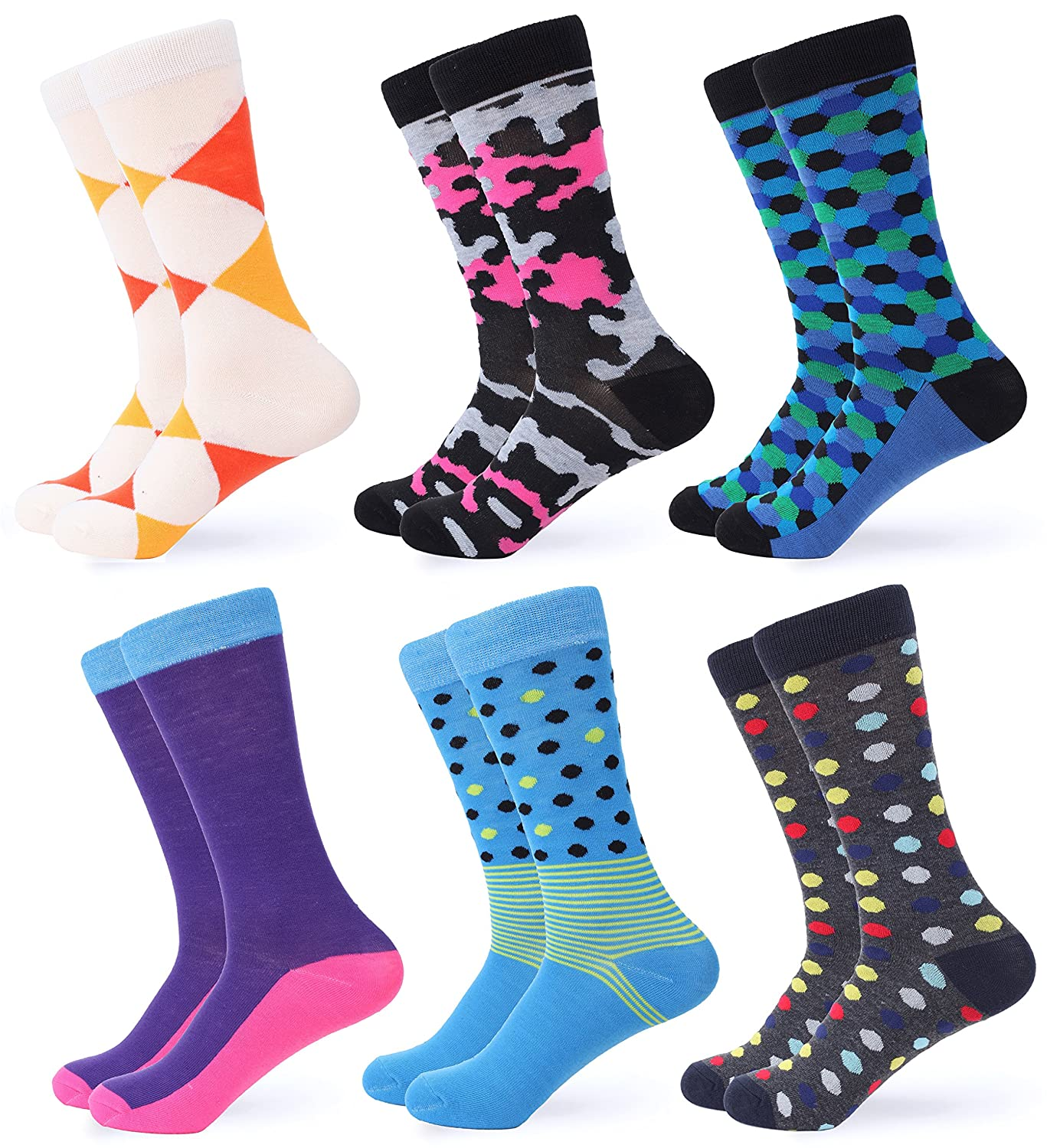 Gallery Seven Mens Dress Socks - Funky Colorful Socks for Men