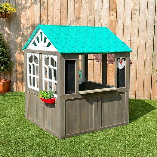 KidKraft- Casa de juguete de exteriores con un toldo a rayas como el de las cafeterías (casa de juguete de madera para exteriores) Playhouse, Color Marrón (419): Amazon.es: Juguetes y juegos
