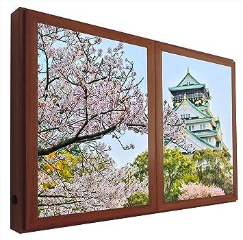 CCRETROILUMINADOS Castillo de Osaka Japón Cuadros Ventanas Falsas Retroiluminadas, Metacrilato, Nogal, 60 x 80: Amazon.es: Hogar