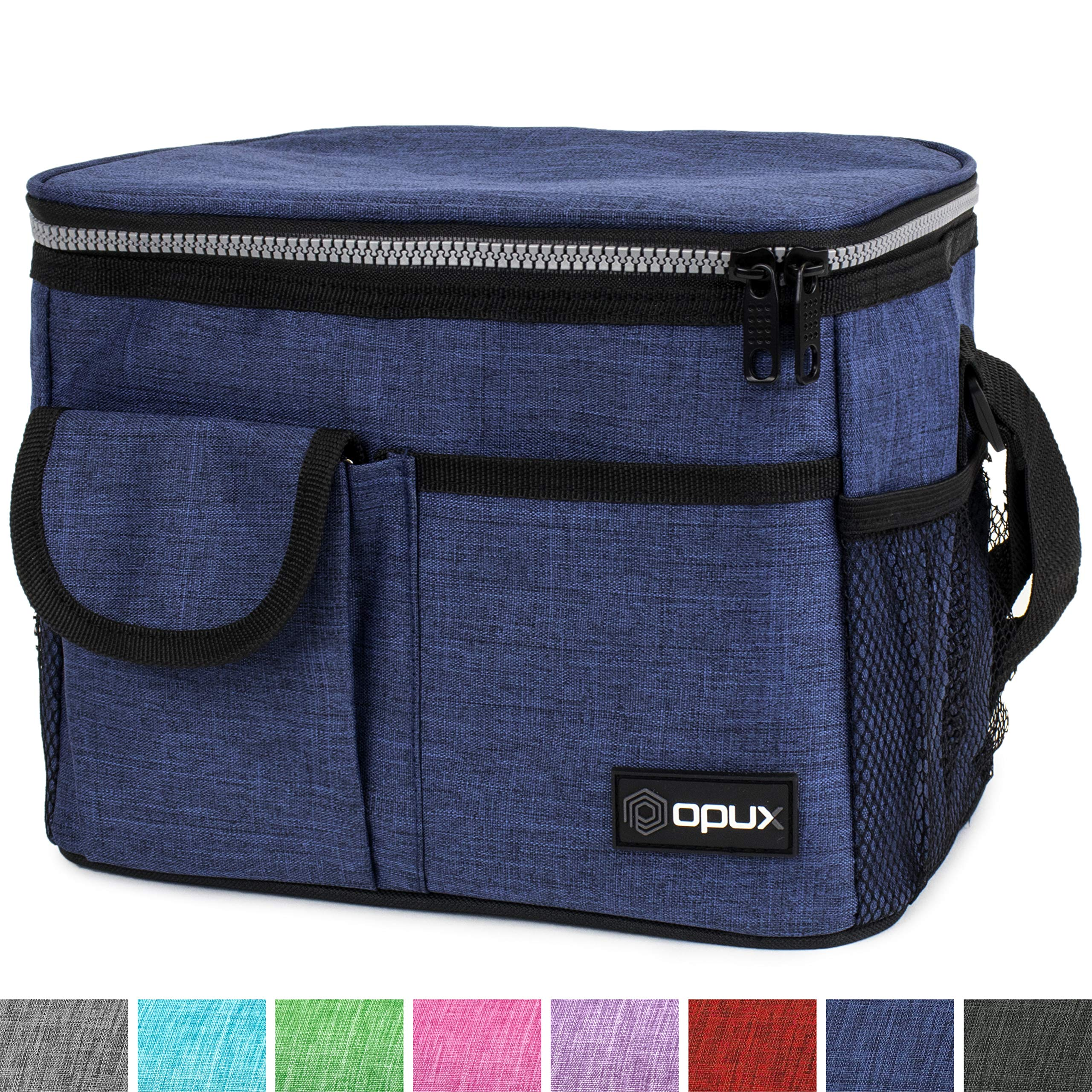 OPUX Premium Insulated Lunch Bag with Shoulder Strap | Lunch Box for Men, Women, Kids | Soft Leakproof Liner with Pockets | Medium Lunch Cooler for School, Work | Fits 6 Cans (Heather Navy)