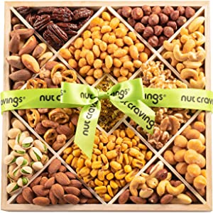 Gourmet Gift Basket Assortment, Nut Mix Wood Tray (12 Variety) - Edible Care Package Set, Birthday Party Food Arrangement Platter - Healthy Snack Box for Families, Women, Men, Adults - Prime Delivery
