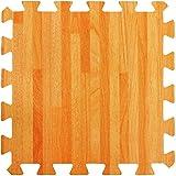 Materassino effetto legno in schiuma ad incastro - Perfetto come piano di protezione, in garage, per esercizio fisico, lo yoga, la stanza dei giochi. Schiuma EVA (9 piastrelle, colore legno naturale)