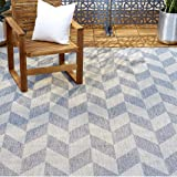 "Home Dynamix Nicole Miller Patio Country Calla Indoor/Outdoor Area Rug 5'2""x7'2"", Modern Geometric Blue/Gray"