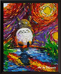 Uhomate My Neighbor Totoro Lakeside Hayao Miyazaki Wall Decor Vincent Van Gogh Starry Night Posters Home Canvas Wall Art Nursery Decor Living Room Wall Decor A047 (11X14)