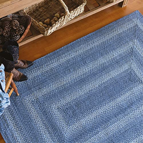 Rectangle Jute Braided Rug All Natural Fiber 8 x 10 Area Rug, Made with Natural Jute Twine A Reversible Rug for Rustic Home D cor Homespice Denim Rectangle Jute Rug 8 x 10 with Blue, White