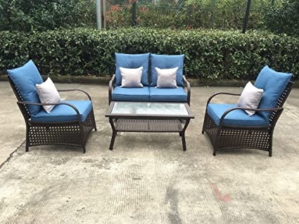 Sol Siesta Clubhouse Collection 4 Piece Conversation Set of Resin Wicker Patio  Furniture, Blue Cushions - Amazon.com: Sol Siesta Clubhouse Collection 4 Piece Conversation Set