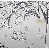 """White Cotton Cards PD27 - Biglietto d'auguri di matrimonio, realizzato a mano, con scritta """"On Your Wedding Day"""""""