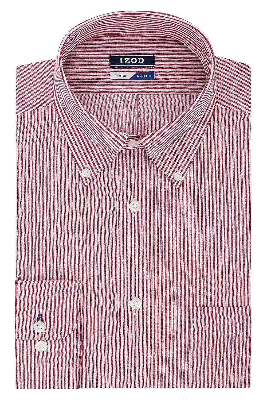 6f6d4d20487a97 Top1  IZOD Mens Dress Shirts Regular Fit Stripe Button Down Collar