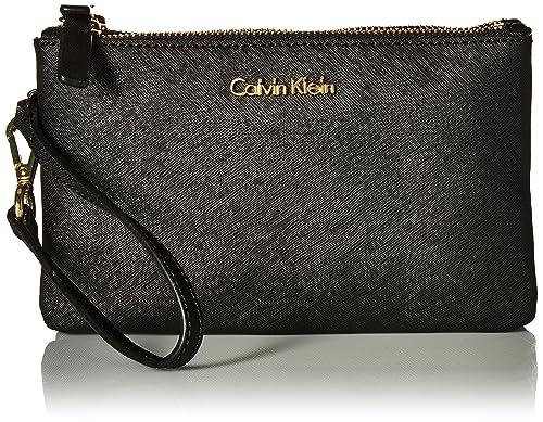 Calvin Klein - Cartera de mano con asa para mujer negro negro y dorado: Amazon.es: Zapatos y complementos